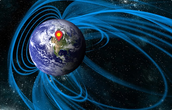 Magnetic field around globe